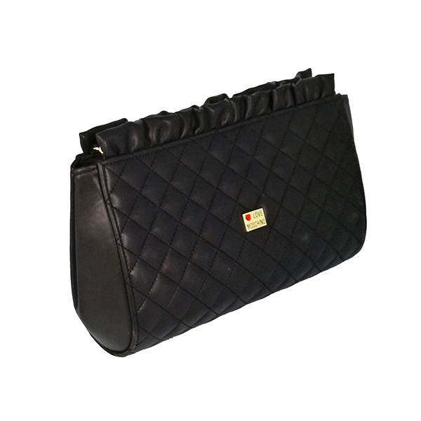 0e1785777f QUILTED POCHETTE CLUTCH LOVE MOSCHINO GOLDEN METAL CHAIN
