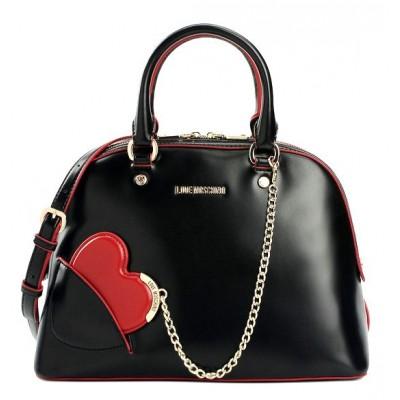 4446142f8fe72 HEART BAG LOVE MOSCHINO BLACKWITH HEART SHAPED MIRROR