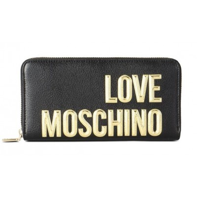 huge discount cb813 d6ba4 PORTAFOGLIO LOVE MOSCHINO NERO ORO ZIP AROUND