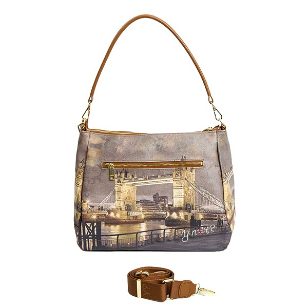 BORSA YNOT LONDRA GOLDEN BRIDGE 321 CON DUE TRACOLLE E TASCA